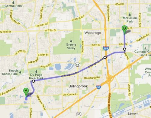 Route from the Peterson home in Bolingbrook to the Woodridge location where the remains were found