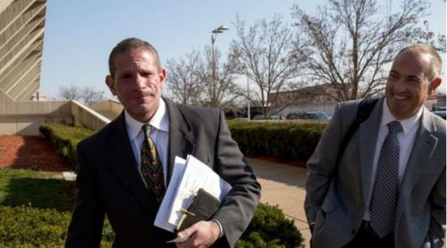David Peilet (left) and Steve Greenberg during Peterson's trial