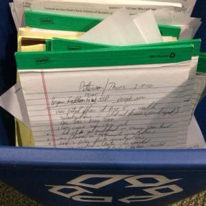 Reporter Craig Wall tweeted this photo of his notes from Drew Peterson's 2012 trial ready for recycling.