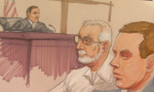 Artist's drawing shows Peterson in court today with his attorney Lucas Leifer